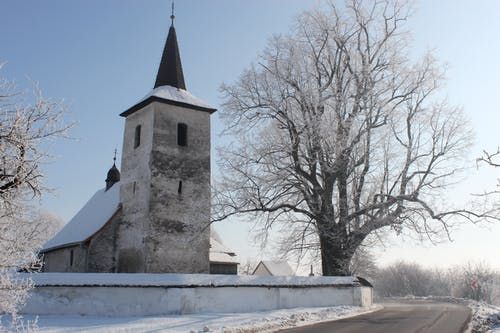 Free stock photo of blue sky, church, cold, fog