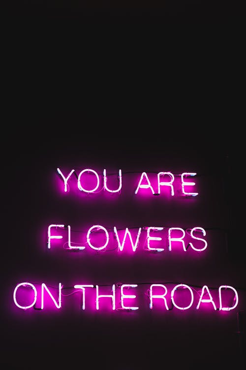 Pink color neon glowing text with poetic and inspiring words You are flowers on the road on black background