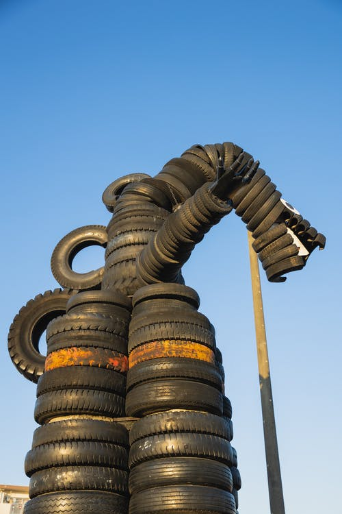 Monster creature made of tyres