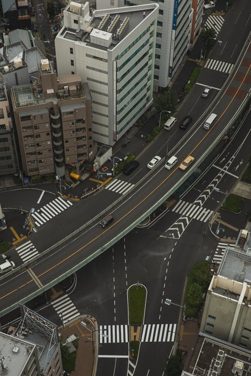 Megapolis with asphalt roads and intersections