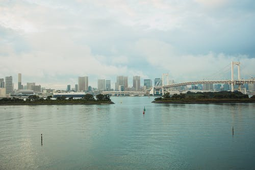 Modern city with bridge crossing wide river and skyscrapers under blue cloudy sky