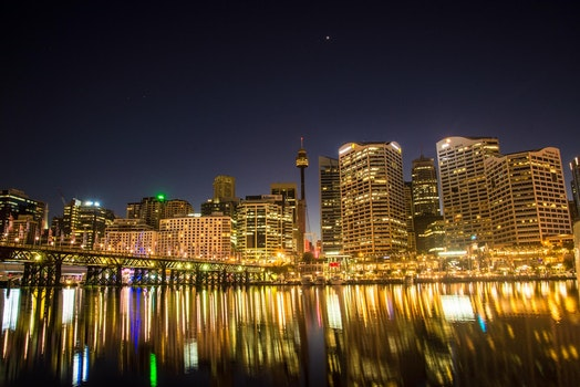 Photo of Lights from High Rise Buildings during Night Time