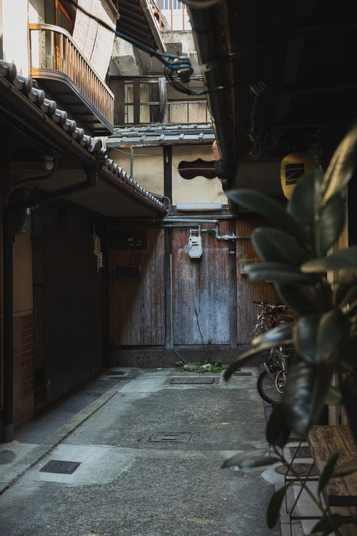 Narrow pathway between aged residential houses in city