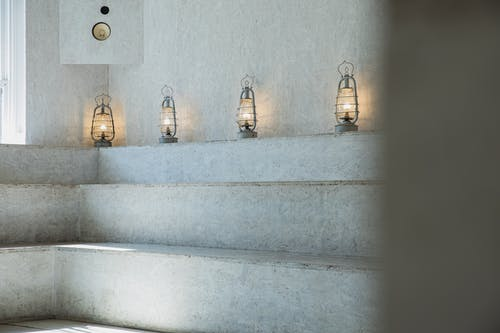 Stone steps in spacious light room