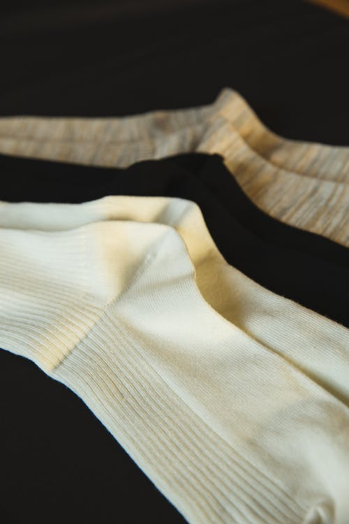 Pairs of new socks made of cotton material