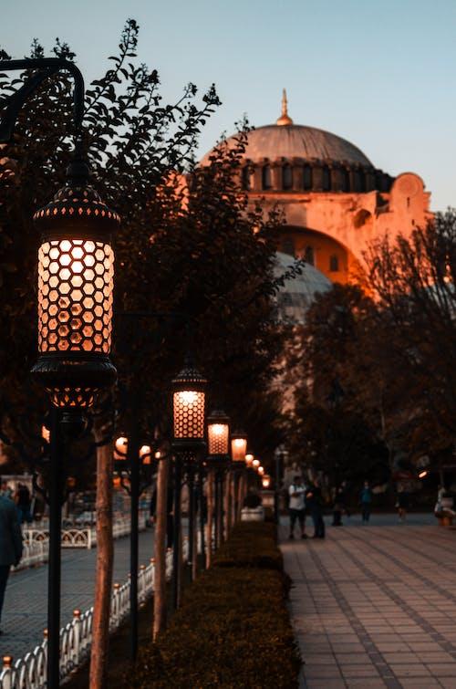 Street alley against Hagia Sophia