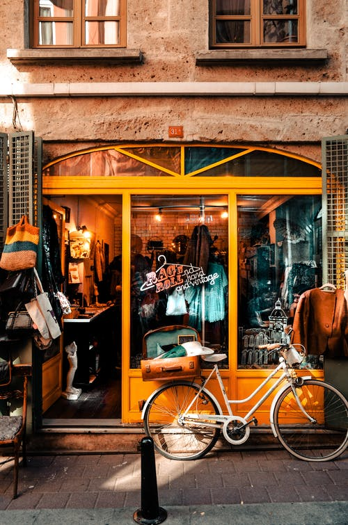 Shop in classic building with bright exterior
