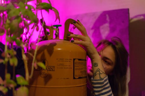Woman with refrigerant and green plant
