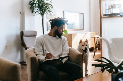 Focused African American male siting in armchair and taking notes in notepad while looking at Akita Inu in living room