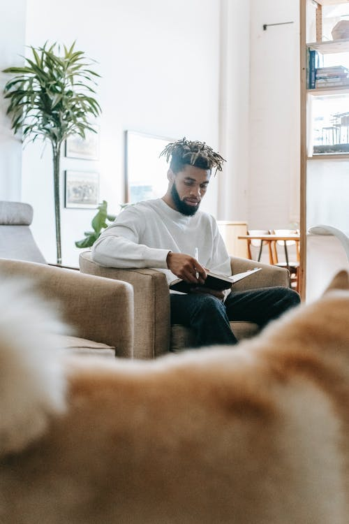 Focused bearded African American male with dreadlocks sitting in armchair with notepad and pen in living room with shaggy dog