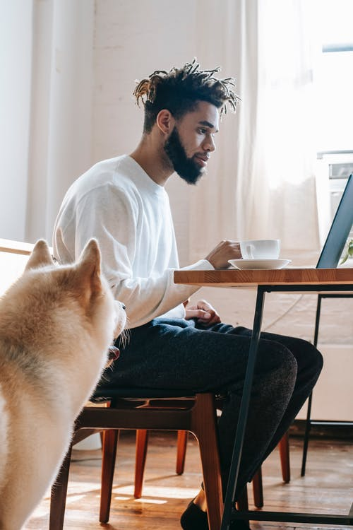 Serious young ethnic man sitting at table with netbook and coffee near dog
