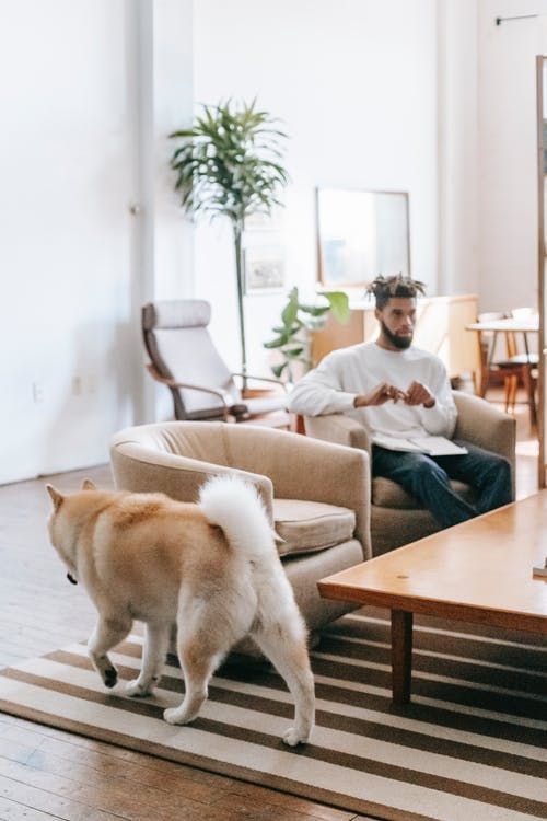 Ethnic man and dog at home