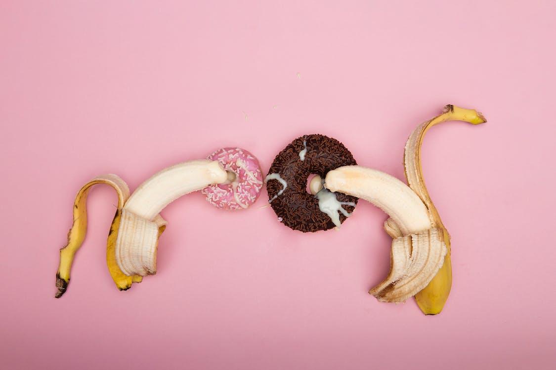 Banana Peel on Pink Surface