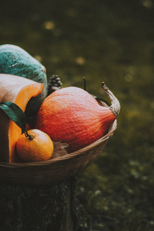 Colorful pumpkins in wicker basket