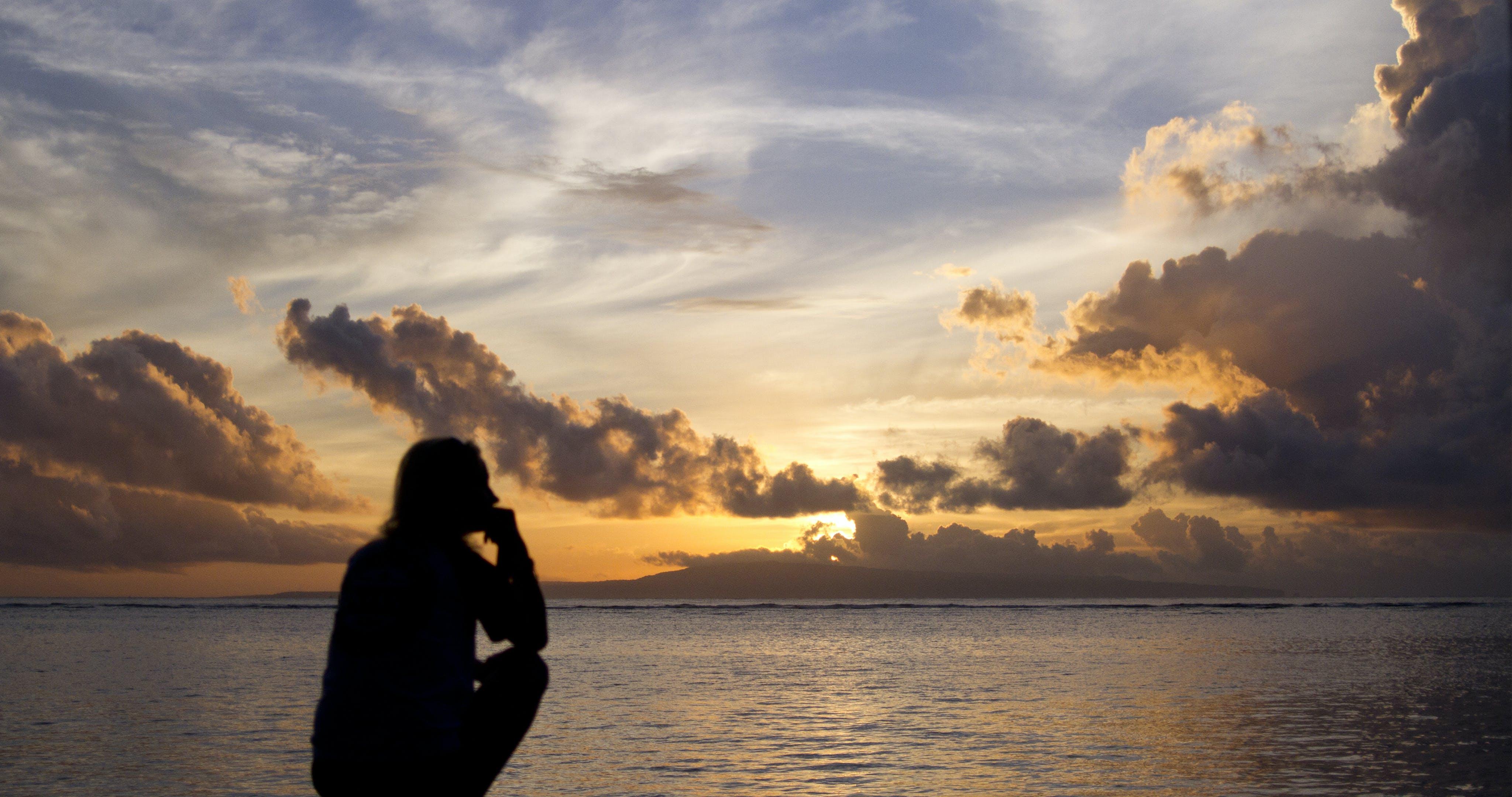 Free stock photo of beach, girl, sunrise, silhouette