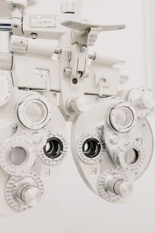 Modern device phoropter in ophthalmology clinic