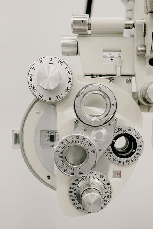 Dials on optometry refractor in clinic