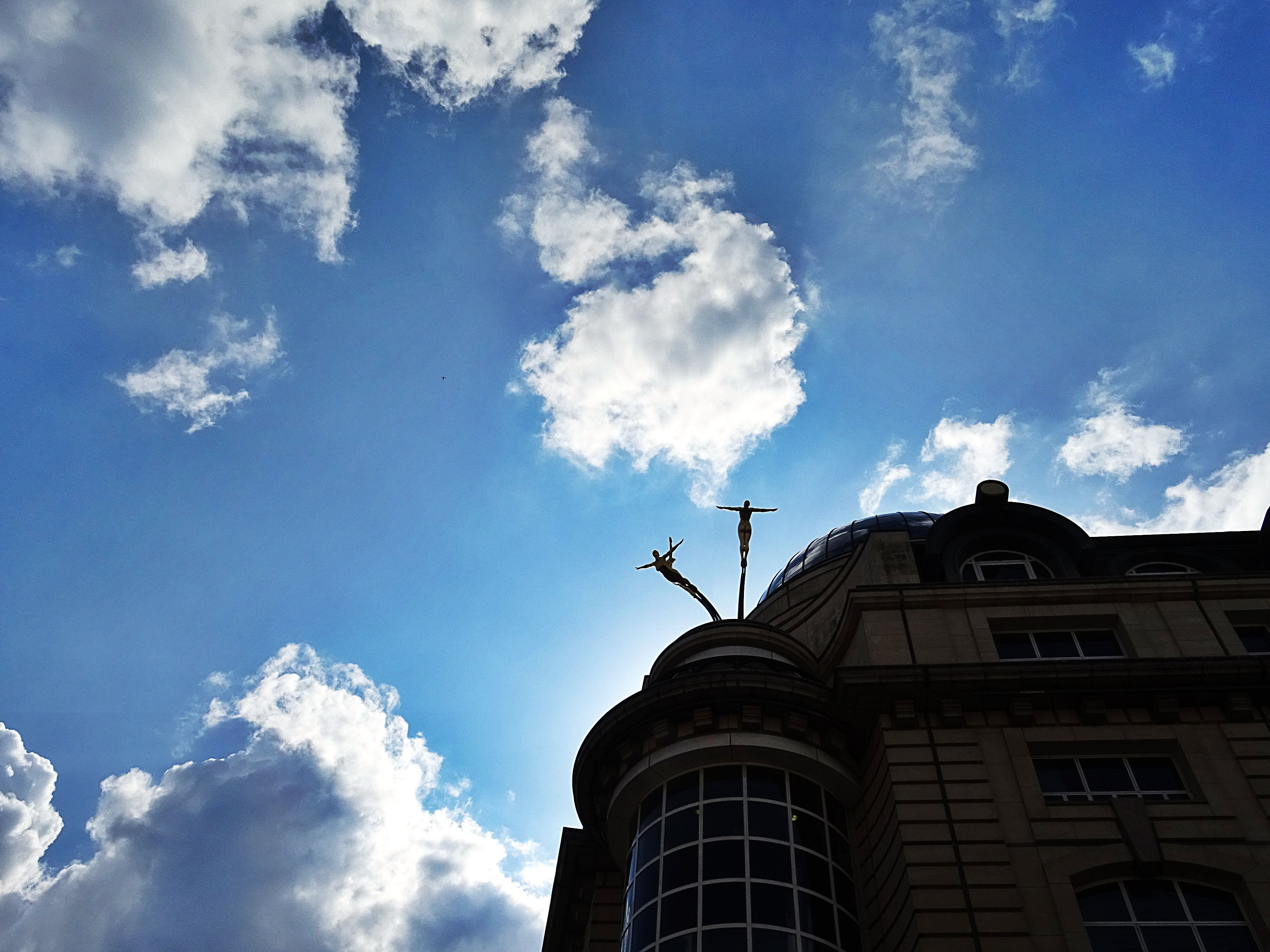 building, clouds, low angle shot