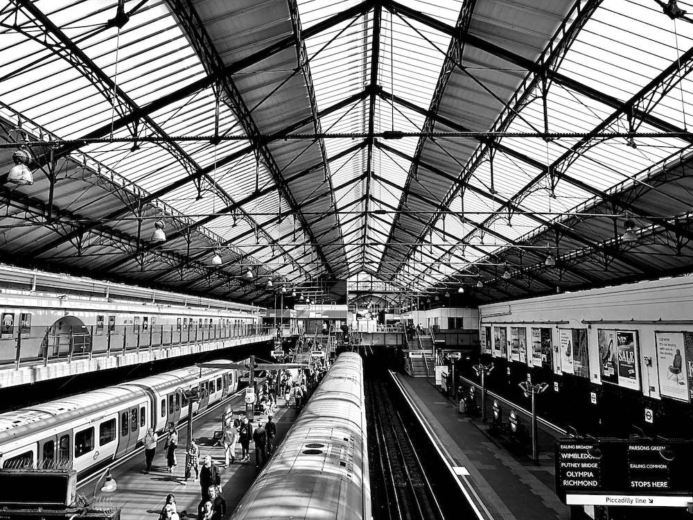 bygning, jernbane, lokomotiv