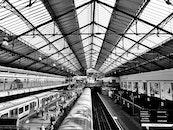 black-and-white, building, public transportation