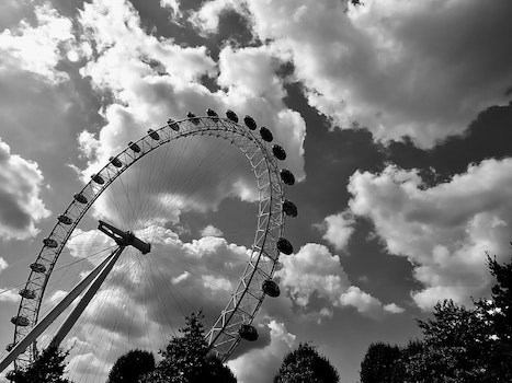 Free stock photo of black-and-white, clouds, amusement park, ferris wheel
