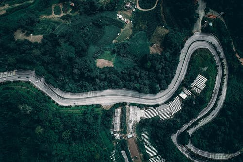 Picturesque aerial view of curvy asphalt road running through green hilly terrain with lush trees in countryside
