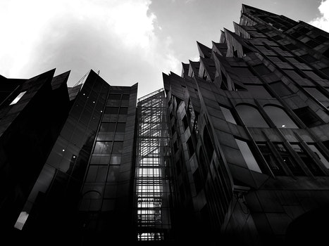Free stock photo of black-and-white, building, architecture, black