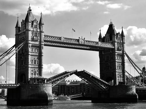 Grayscale Photo of Tower Bridge, London