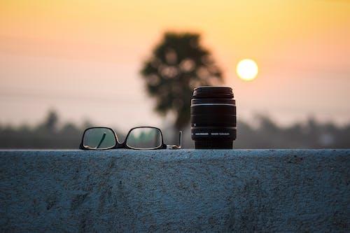 Black Camera Lens and Eyeglasses