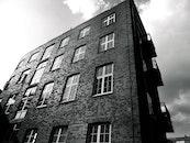 black-and-white, building, bricks
