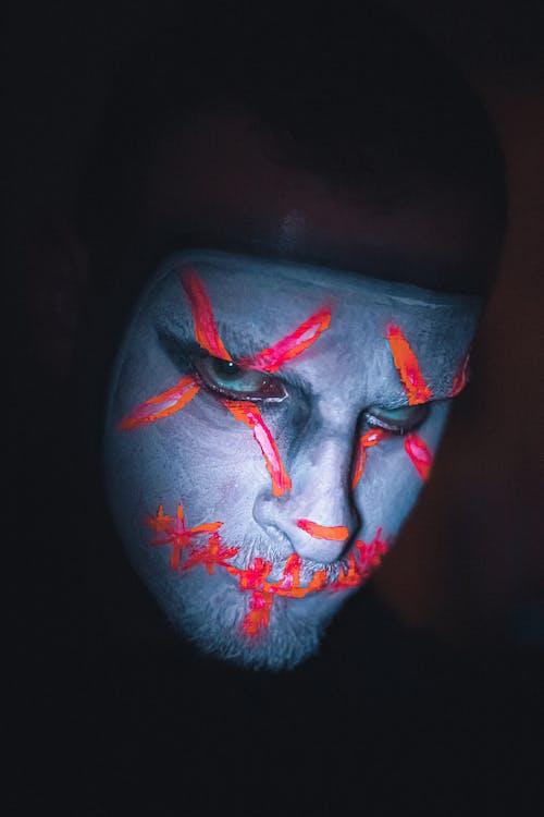 Man with creepy psycho makeup