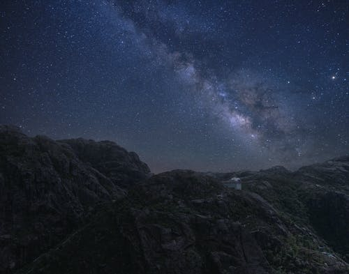 Starry sky over mountainous area at night