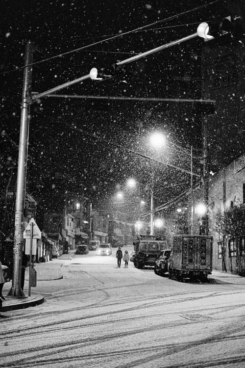 Grayscale Photo of Street Lights Over a Snowy Street