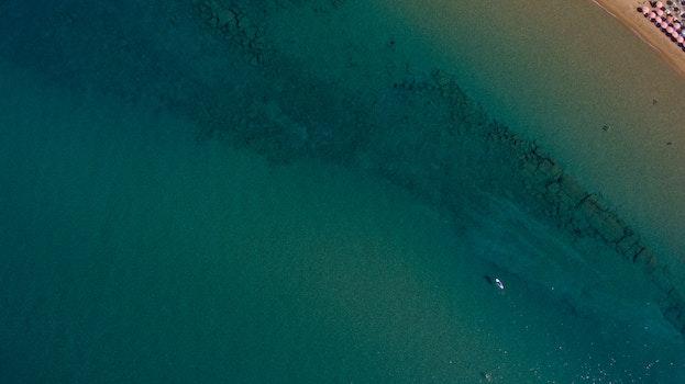 Free stock photo of sea, bird's eye view, sunny, beach