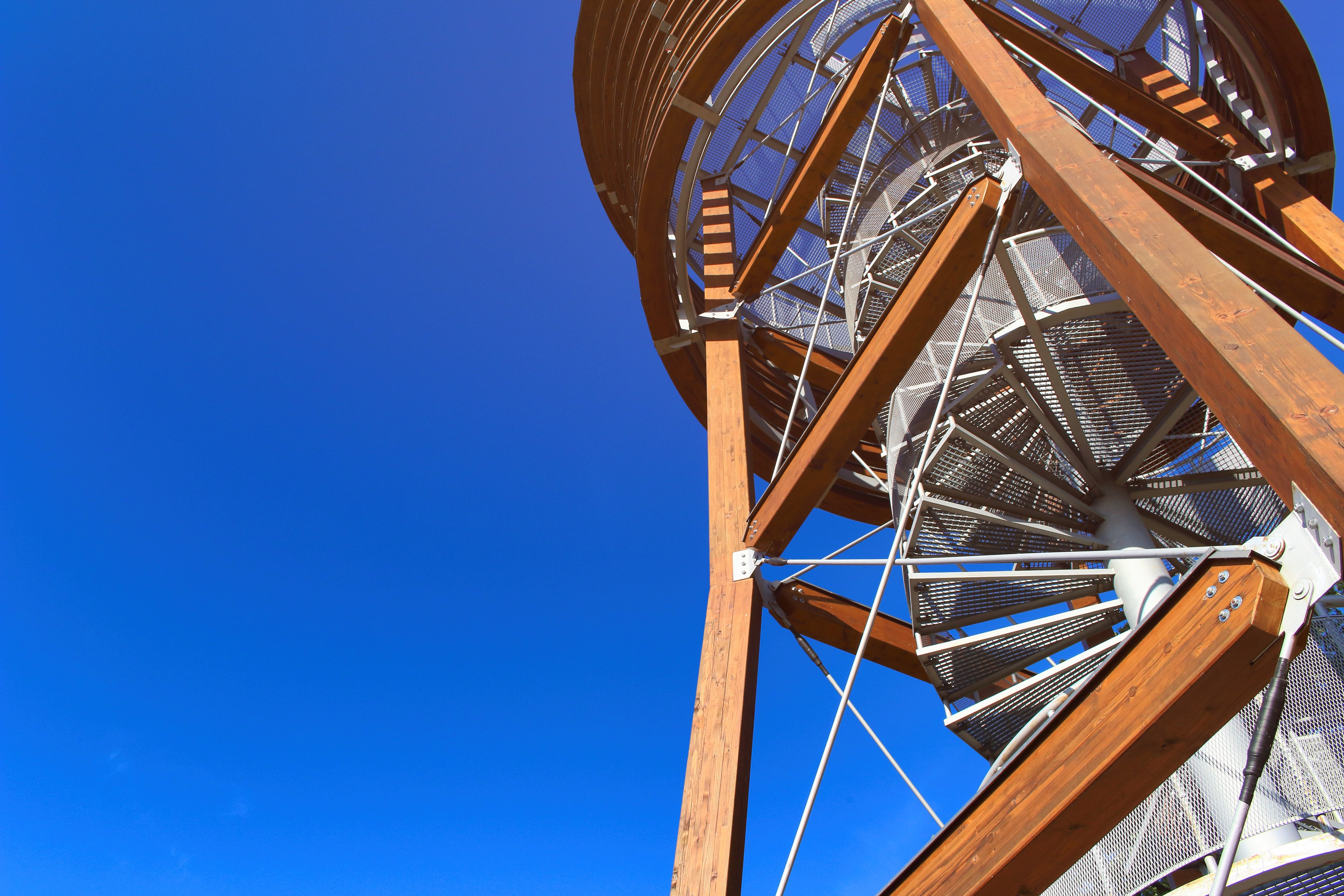 Free stock photo of blue sky, building, Lookout tower, spiral staircase