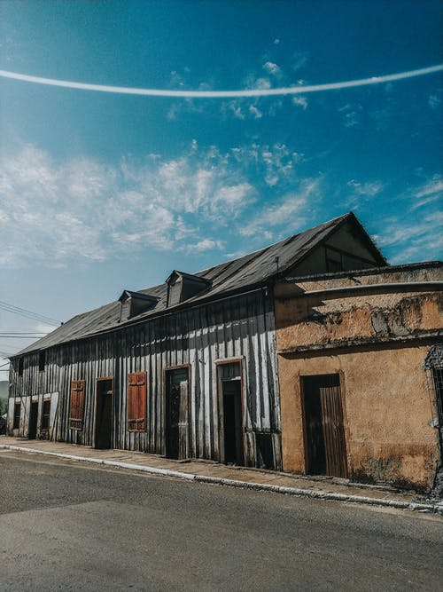 Aged shabby buildings in row