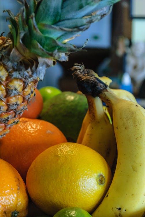 Free stock photo of abacaxi, banana, frutas