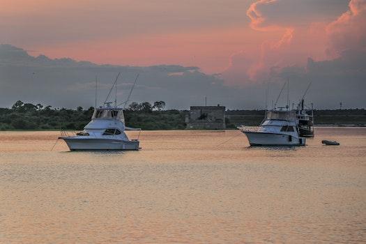 Free stock photo of sunset, beach, water, boat