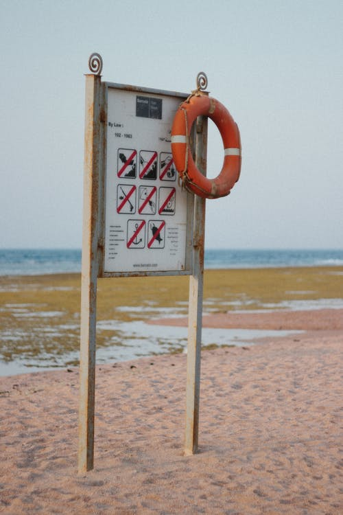 Free stock photo of beach, lifebuoy, rust, sign