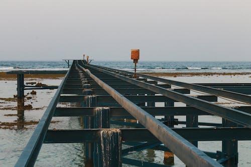 Free stock photo of pier, rails, sea, waves