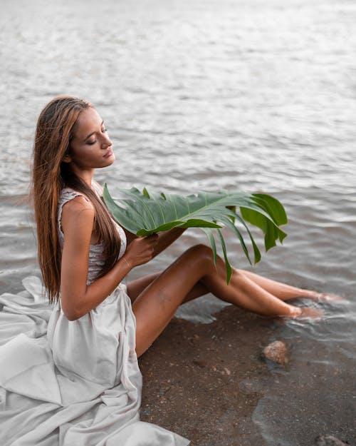 Donna Femminile Che Si Siede Sul Mare Poco Profondo Con La Foglia Della Pianta Verde