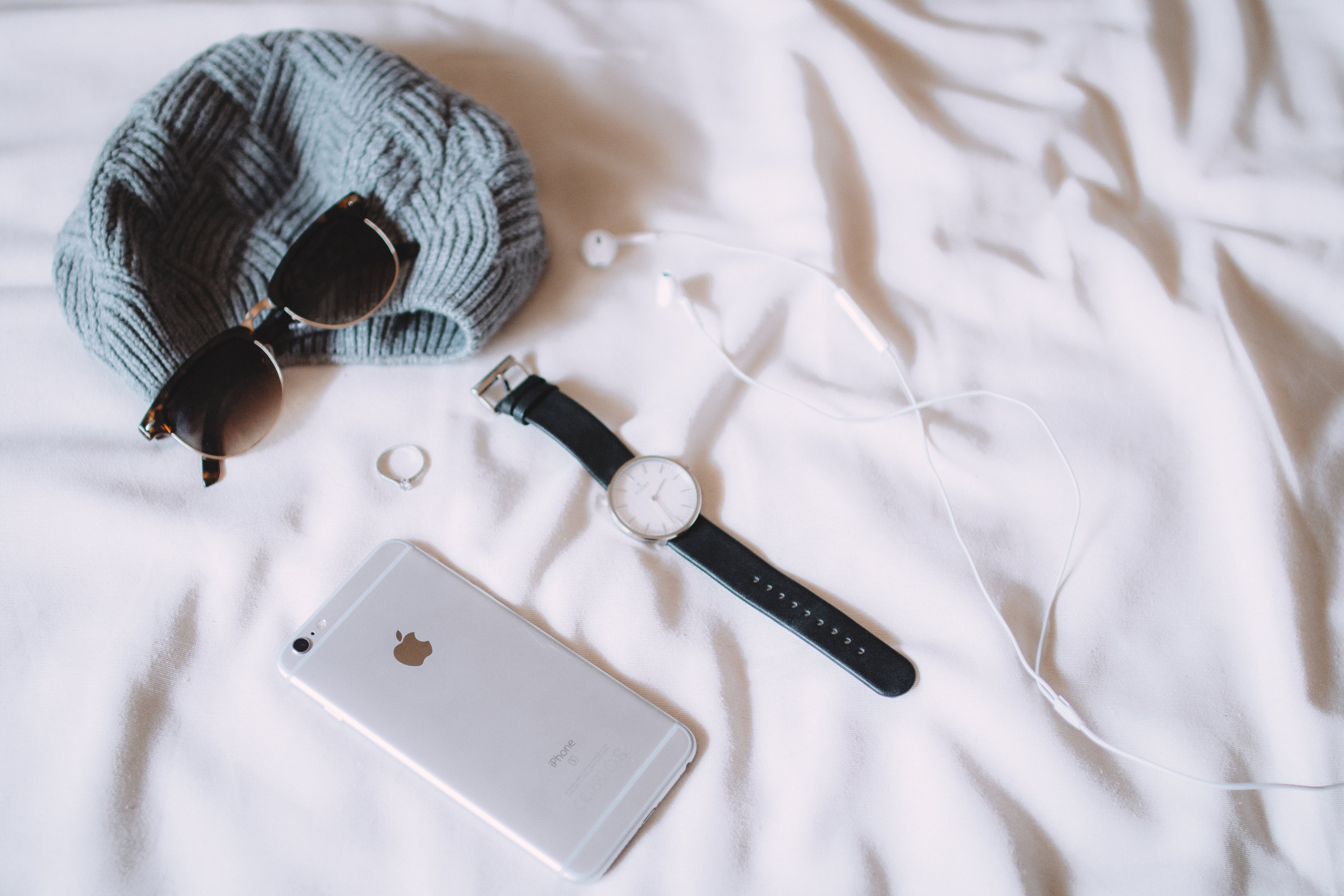 Silver Iphone 6 Beside Silver-colored Watch