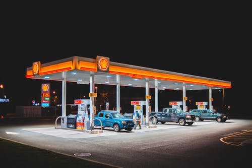Cars refueling on gas station