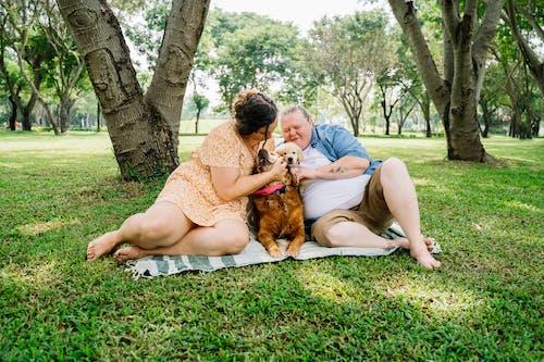 Woman in Brown Dress Sitting on Green Grass Field Beside Brown Dog