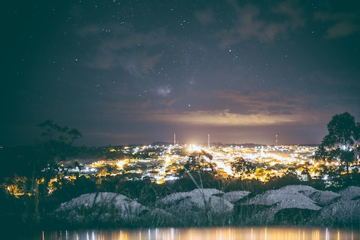Free stock photo of city, lights, night, stars