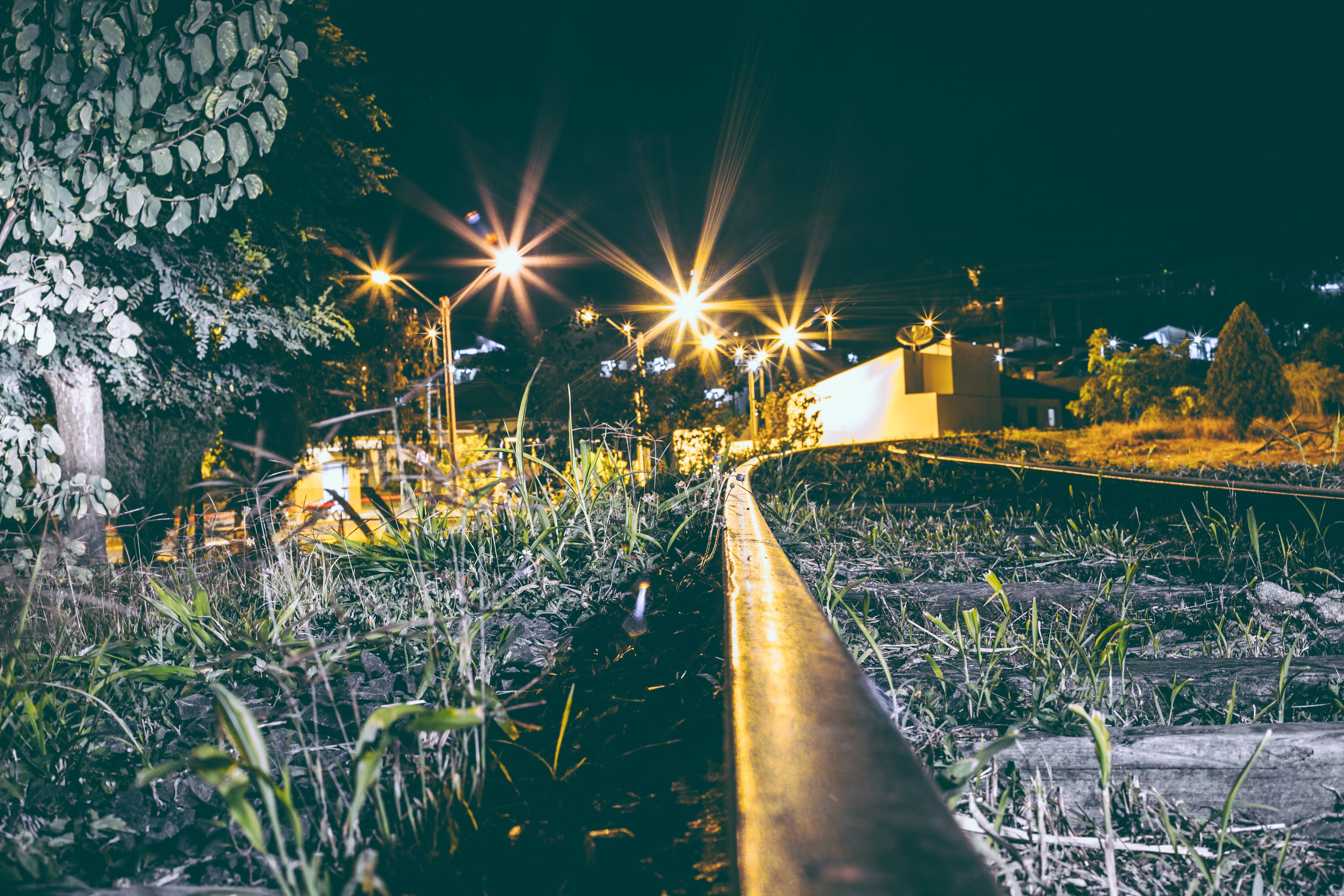 Free stock photo of light, city, grass, railroad