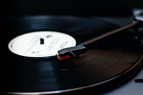 Black Vinyl Record on Vinyl Record Player
