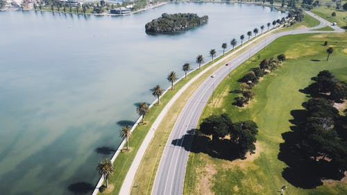 Cars on Road Near Body of Water