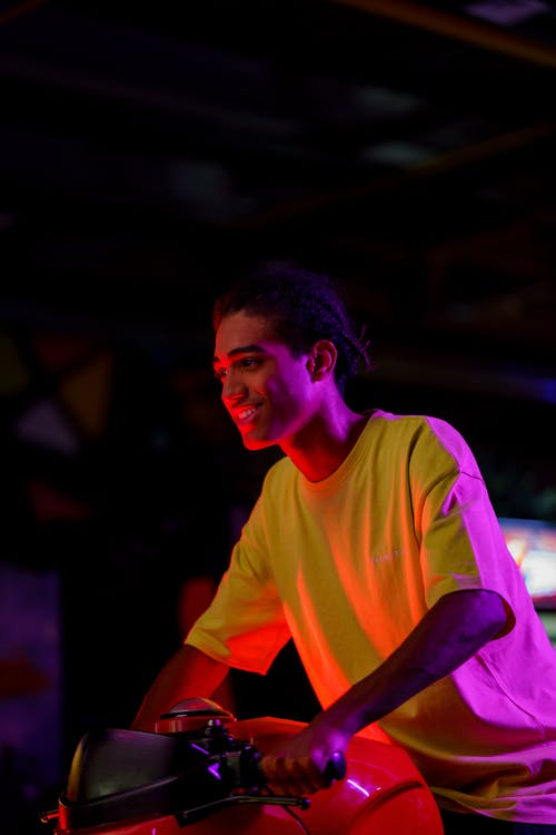 Man in Yellow Crew Neck T-shirt