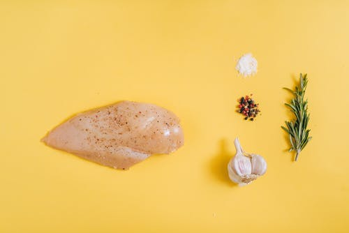 Chicken Meat on Yellow Surface